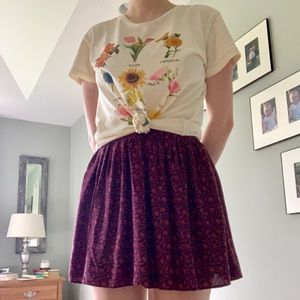 American Eagle Red Floral Skirt